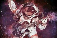 Аватарка Космонавт играет на гитаре в космосе