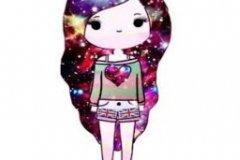Аватарка девушка с волосами из космоса