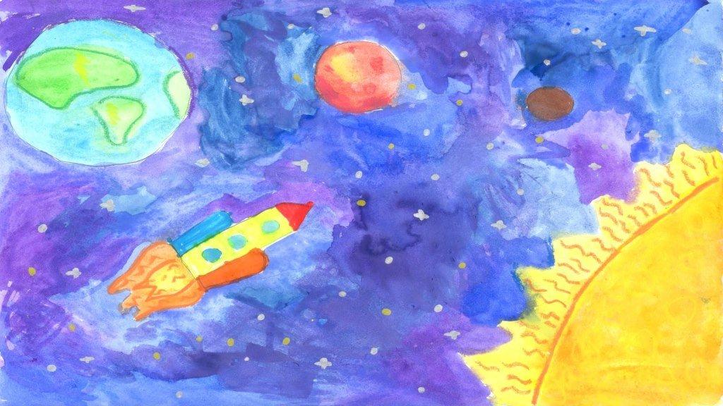 Детский рисунок про космос