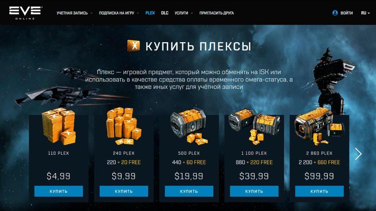 Покупка плексов в EVE online