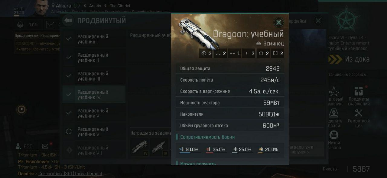 Характеристики эсминца Dragoon в EVE echoes